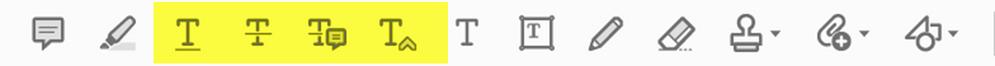 Standard editing tools/marks in Acrobat.