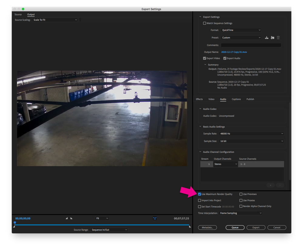 Export Settings with Use Maximum Render Quality enabled.
