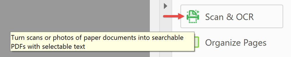 1. Select Scan & OCR from the RIGHT toolbar, or top left Tools Tab.