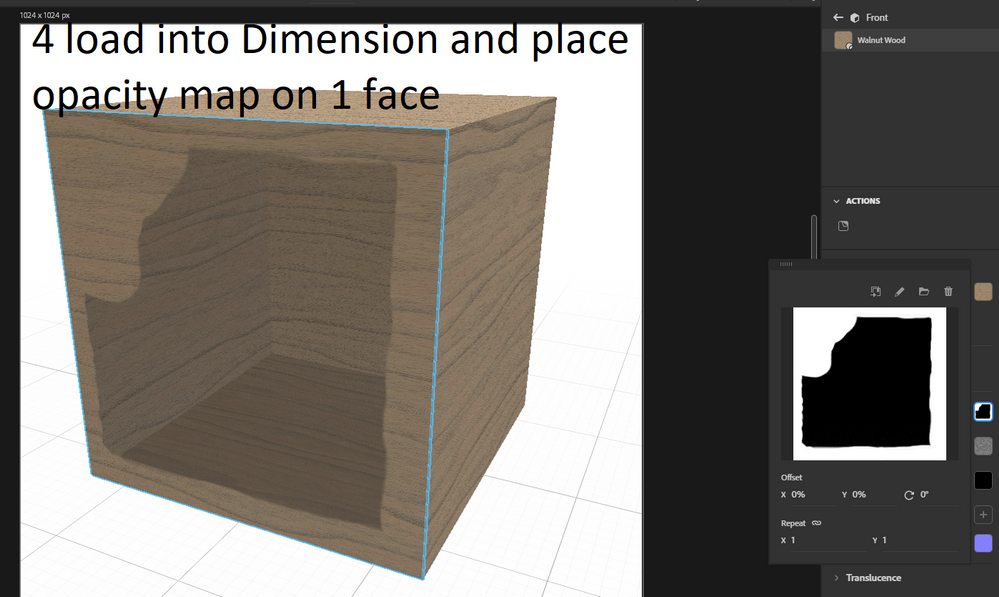 load your box in Dimansion and add the map to 1 face