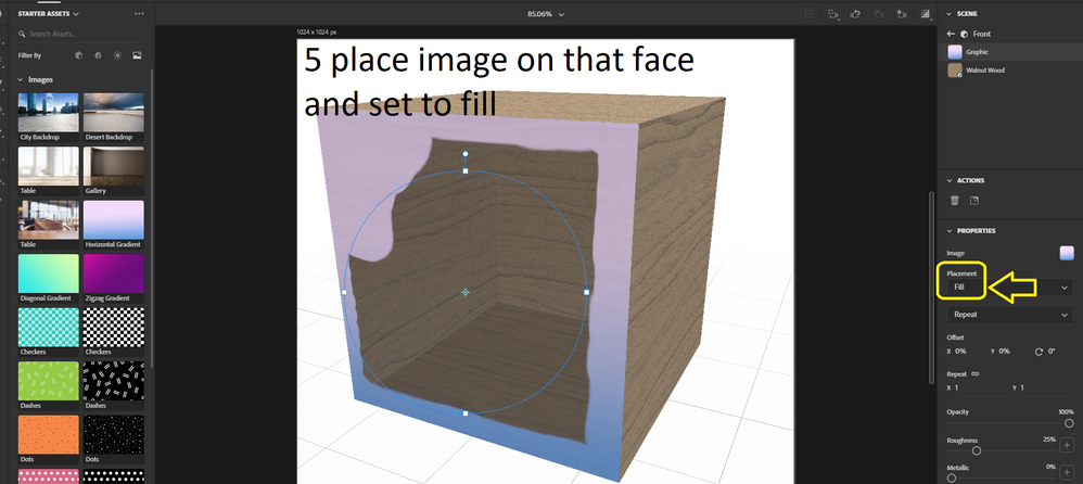 with only that face selected add image and set to fill