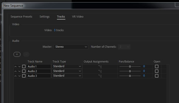 New Sequence Settings