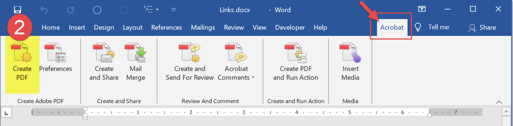 After setting the conversion preferences, Create the PDF from MS Word.