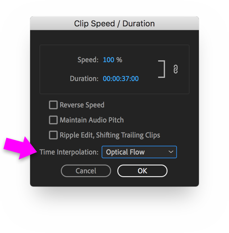 Clip Speed/Duration dialog box with Time Interpolation set to Optical Flow