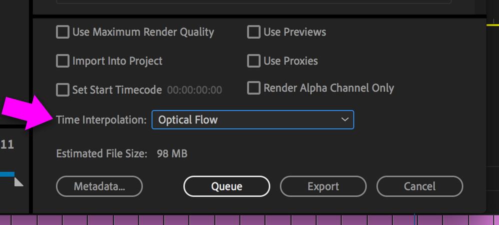 Export dialog box with Time Interpolation set to Optical Flow
