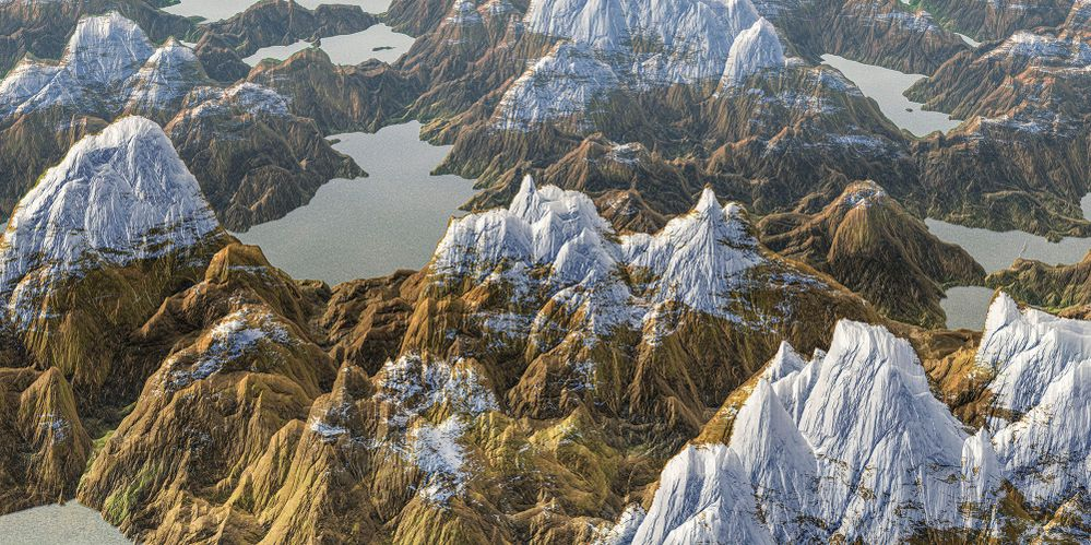 Snowy peaks in the fictitious land of a thousand lakes. 3D Render.jpg