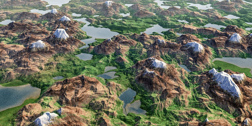 The land of a thousand lakes. Panoramic unreal landscape 3D render.jpg