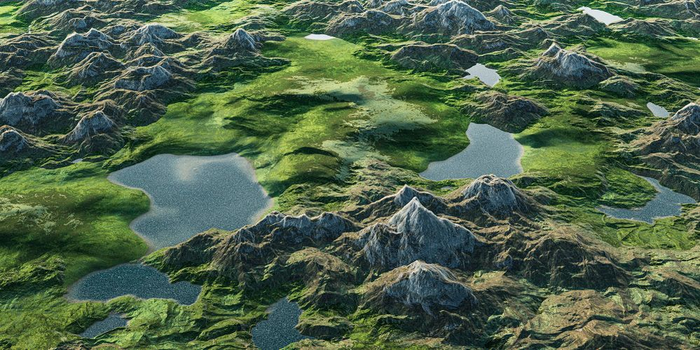 Unknown landscape of the highlands, flying over green meadows and hills of another world. 3D render.jpg