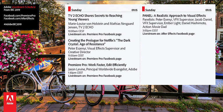 Sunday schedule for the Adobe booth at IBC 2019