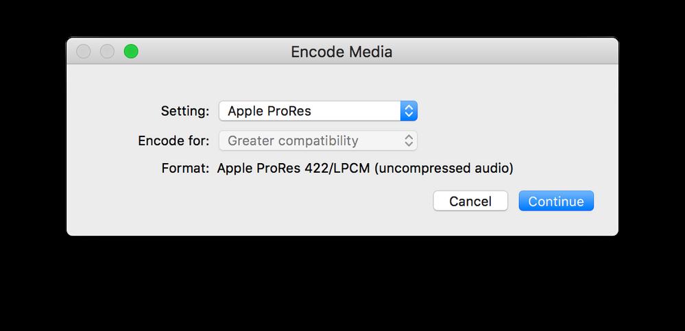 Encode Media options set to Apple ProRes