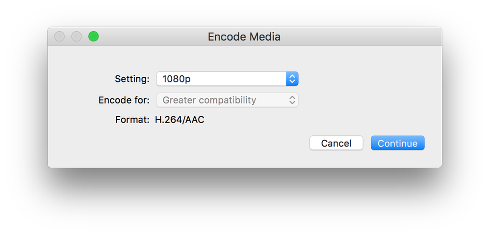 Encode Media options set to 1080p (H264/AAC)