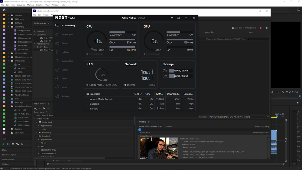 Hadware Encoding 0% GPU - 14% CPU.png
