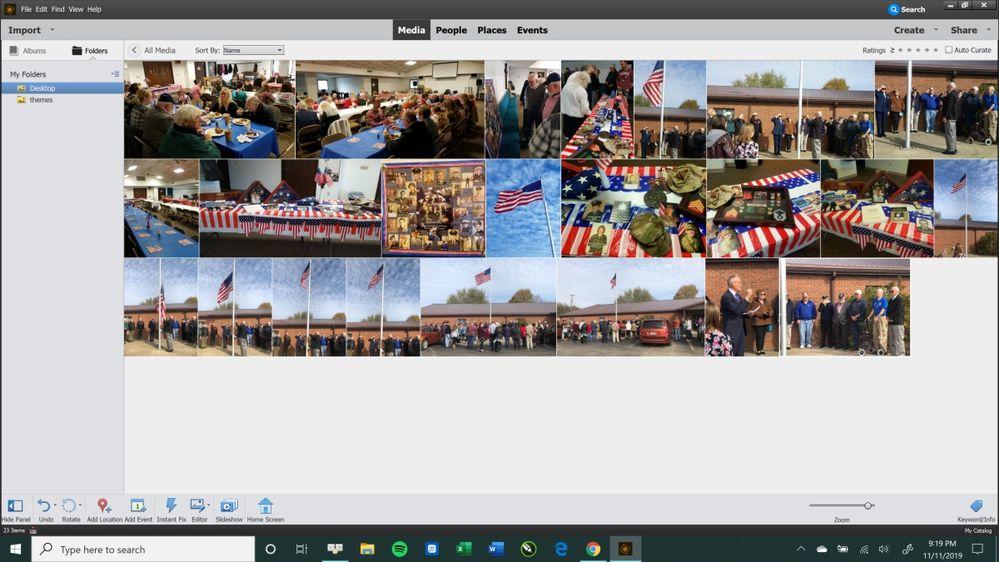Screen 1--before selecting Create Slideshow