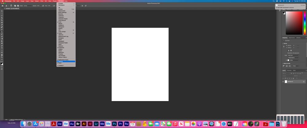 Photoshop > Window pulldown menu > Options enabled.