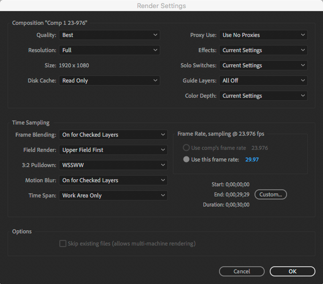 After Effects Render Queue Render Settings for a 23.976 Comp with Field Render and 3:2 Pulldown enabled.