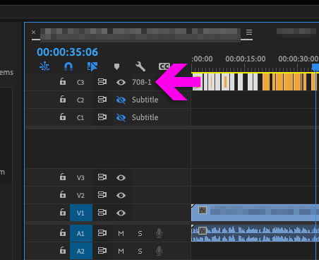 Premiere Pro Timeline with 708 Captions Track