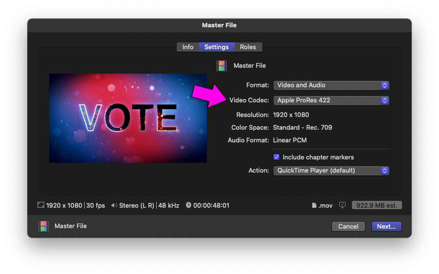 Final Cut Pro X > Export Master File Dialog Box > Settings Tab > Video Codec set to Apple ProRes 422