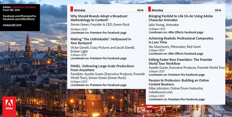 Monday's Adobe booth schedule for IBC 2019