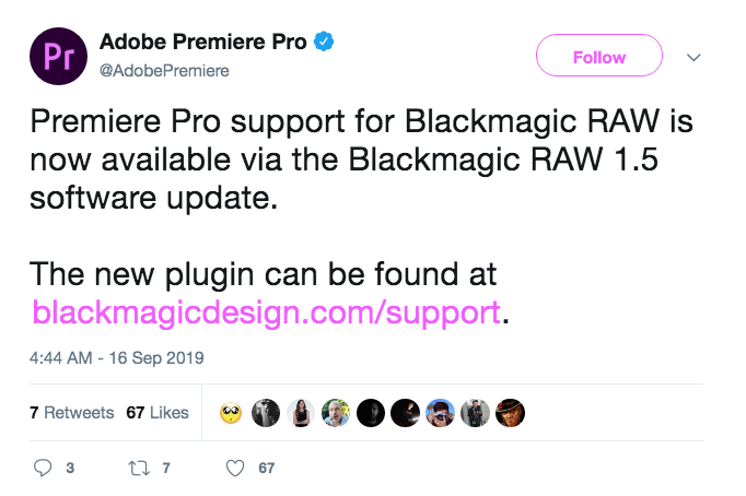 Premiere Pro support for Blackmagic RAW is now available!