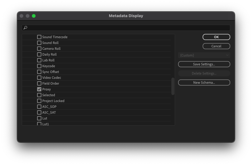 Premiere Pro - Metadata Display dialog box with Proxy enabled.