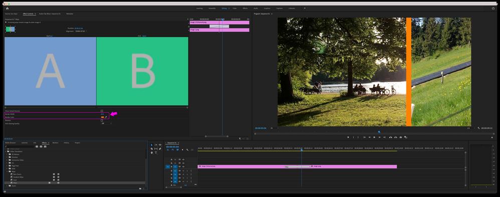 Premiere Pro - Wipe Transition applied with orange border.