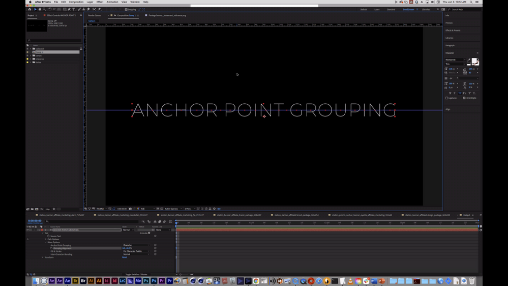 After Effects Text Layer with the Grouping Alignment set to 0, -40.5.