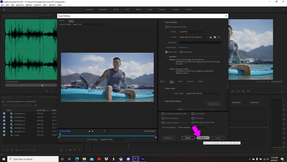 Premiere Pro Export Settings with Export button being selected.