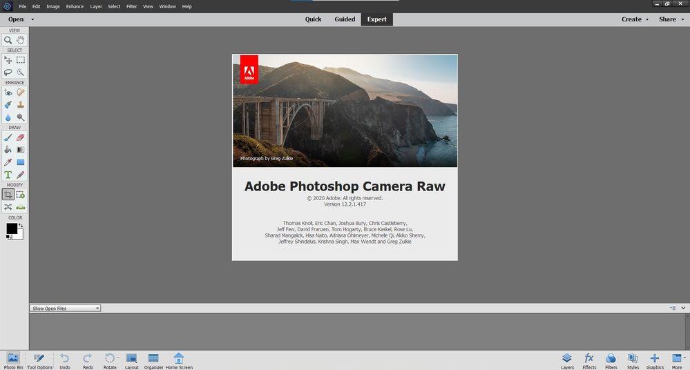 Adobe Camera Raw 12.2.1 Splash Screen