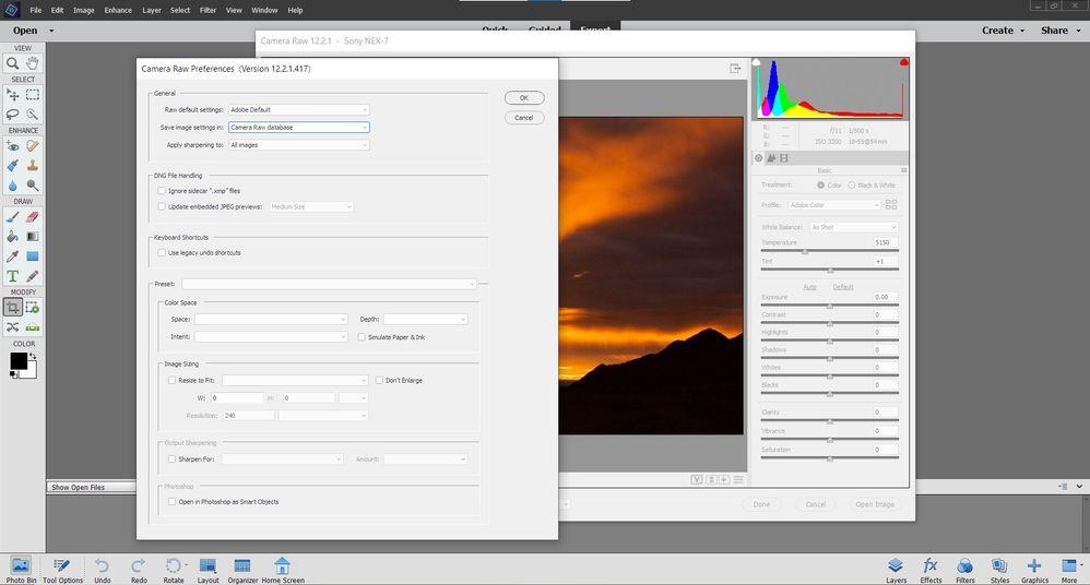 Adobe Camera Raw 12.2.1 Preferences Dialog