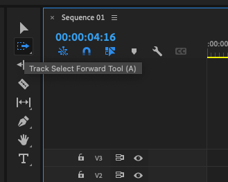 Premiere Pro Tools panel - Track Select Forward Tool (A) selected.