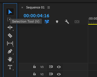 Premiere Pro Tools panel - Selection Tool (V) selected.