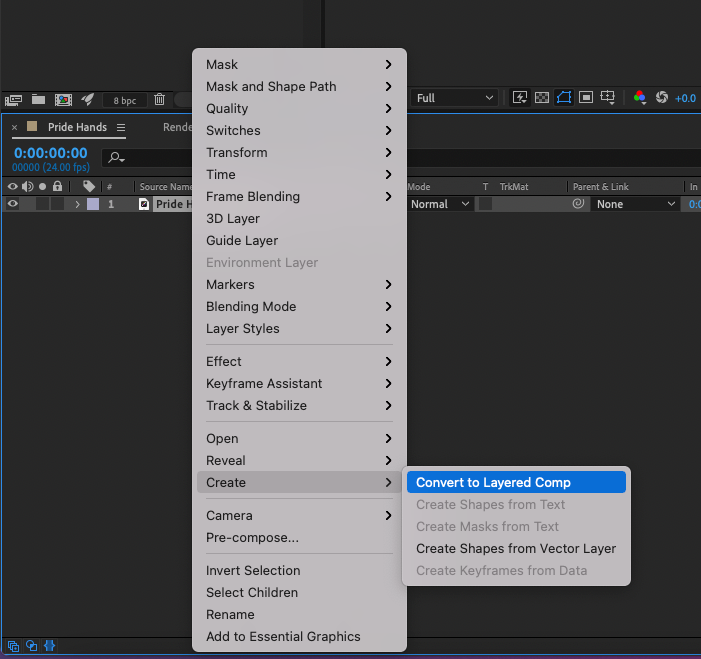 After Effects - Right-click AI layer and choose Convert > Convert to Layered Comp
