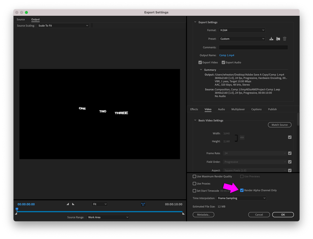 Media Encoder Export Settings dialog box with Render Alpha Channel Only enabled.