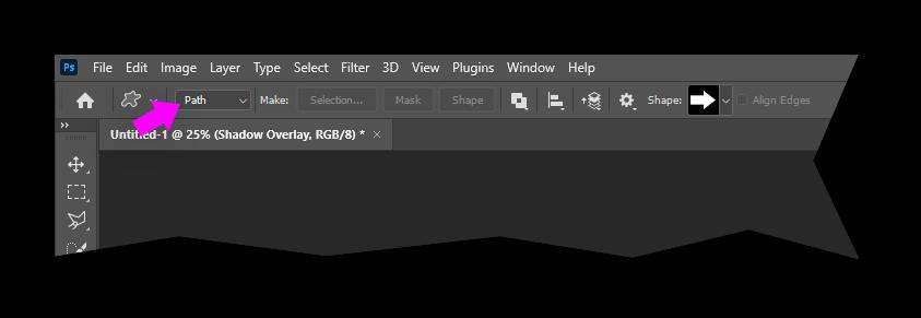 Photoshop Shape Tool with Options set to Path instead of Shape