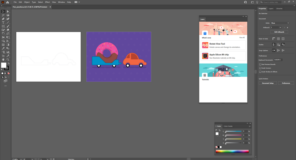 Illustrator with Practice with the Pen Tool tutorial showing