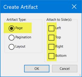 "Select Page artifact, no ""sides."""