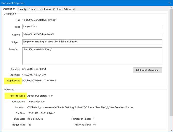 Show the originating source program and PDF conversion utility.