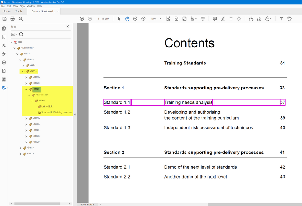 PDF Tags for a table of contents. This sample is from InDesign 2021.