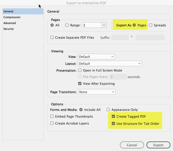 Core settings for an accessible tagged PDF.