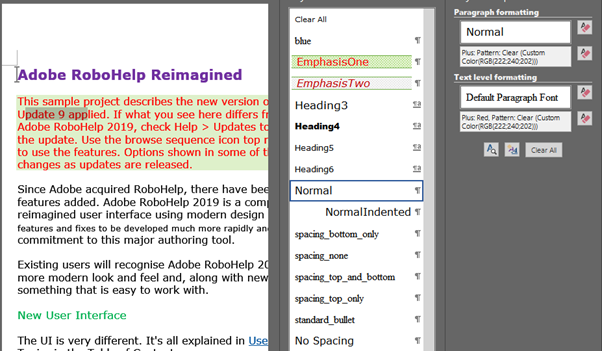 Selected text should have style EmphasisOne. Instead it has direct formatting that makes it LOOK like EmphasisOne.