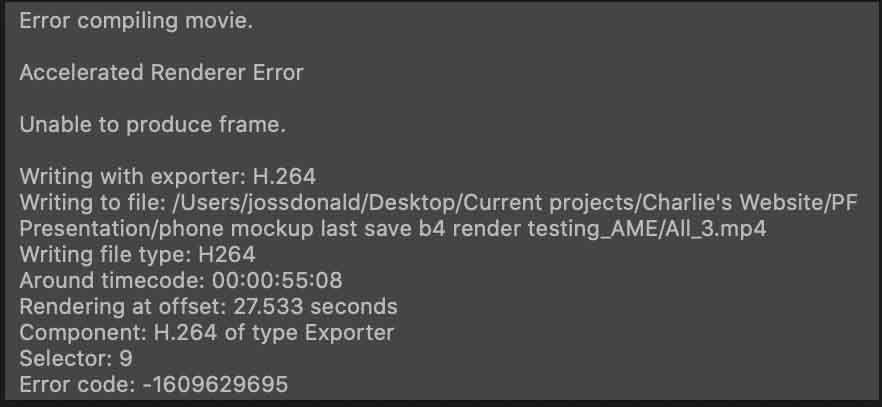 ^ The error message