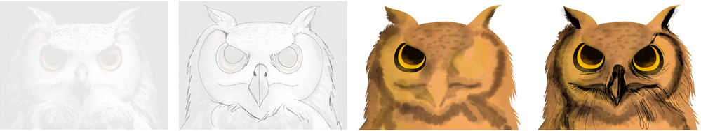 NOTE: You can use the Duplicate layer option to recreate the similar elements of your drawing. In this case eyes. This functionality can help you save time and can be used at any given point in the drawing.
