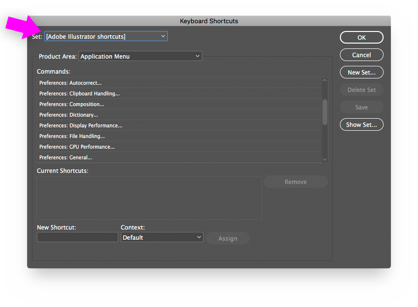 INDD Keyboard Shortcuts set to Adobe Illustrator shortcuts