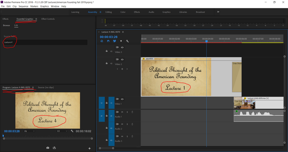 #4: PrPro Workspace, note the inconsistencies across the 3 panels.  Regardless, PrPro still exports this correctly