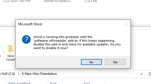 Solved Word Is Running Into Problems With Pdfmaker Office Adobe Support Community 10921019