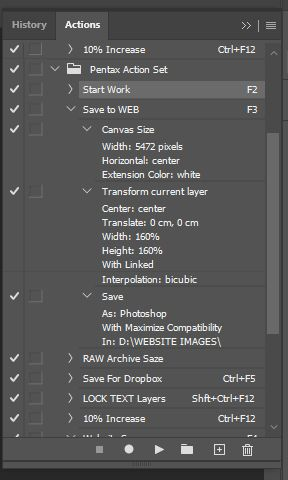 Action with Save as function