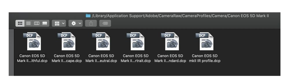 camera profiles including custom IR profile