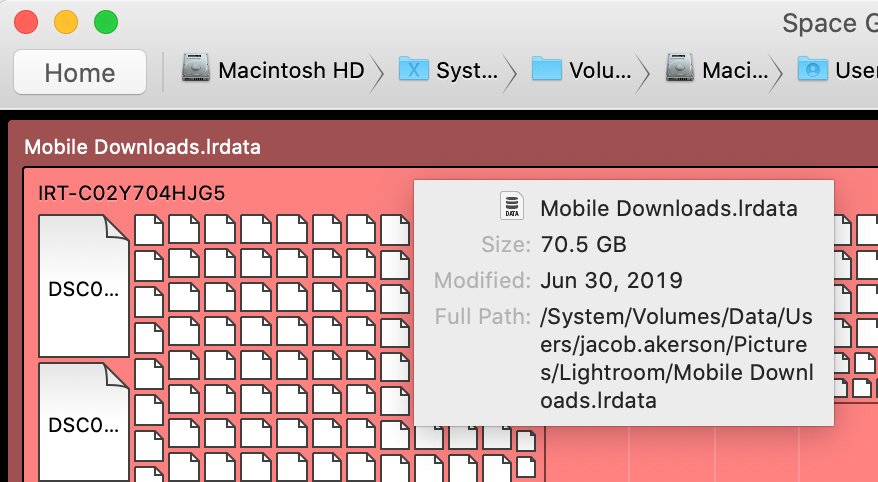 My internal drive with 70.5 gigs from lR