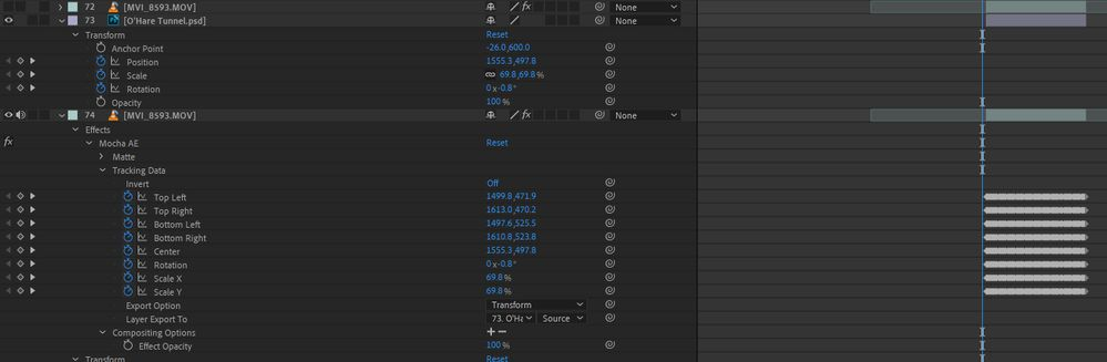 AE layers 74 has tracking data, layer 73 does not.