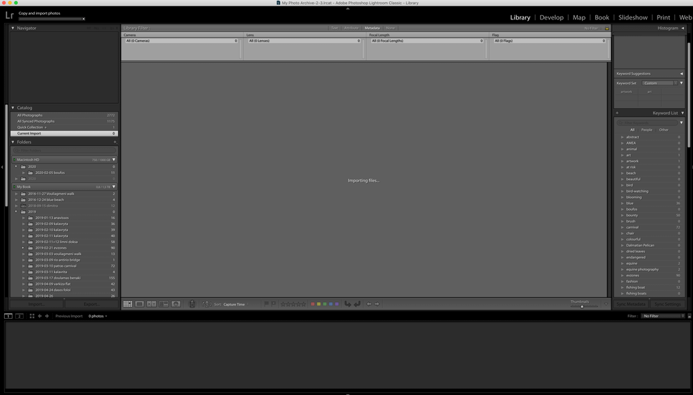 screenshot of LR trying to copy and import images